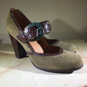 Dollhouse Brown Suede Shoes with Croc Style Straps